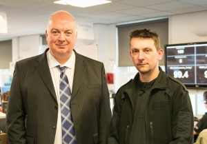 Pictured left to right: Tom Donohoe and Call Handler Steve Dimsdale who monitored last Thursday's tweetathon