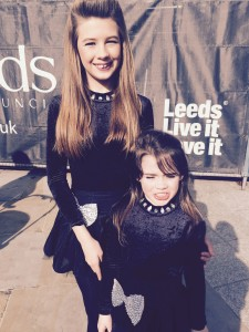 Irish Dancers Alana Mountain and Niamh Noonan after their performance on stage.
